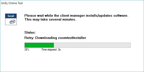 Unify Online Test Message box is shown with the following message: Please wait while the client manager installs/updates software. This may take several minutes. Status: Downloading zoom text Installer. Progress bar and information about the download progress and time elapsed is shown.