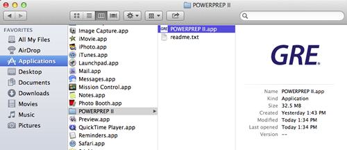 The applications window is shown with the Power Prep II folder selected.