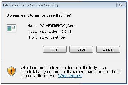 A security warning message box is shown. The message box provides the Name of the file. The type of file and where the file originated from There are three buttons with the following labels. Run. Save. Cancel. Below the buttons there is a warning that some Internet files can be harmful to your computer.