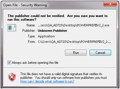 A security warning message box is shown. The following message is at the top of the window. The publisher could not be verified. Are you sure you want to run this software? The following information is also provided. The Name of the file. The Publisher. The type of file and where the file originated from There are two buttons with the following labels. Run and Cancel. Below the buttons there is a warning that this file does not have a valid digital signature that verified its publisher.