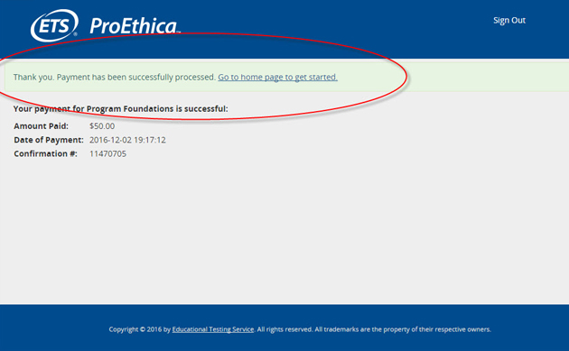 ProEthica payment confirmation screen