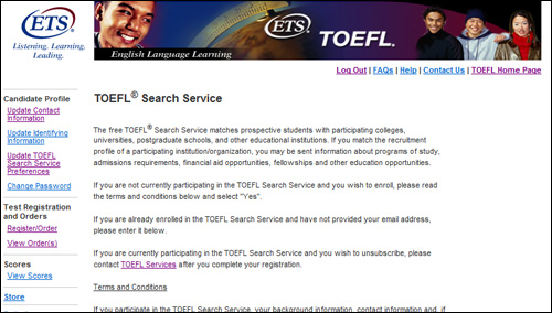 Register for a test on TOEFL Search Service