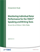 Cover of Monitoring Individual Rater Performance for the TOEIC® Speaking and Writing Tests