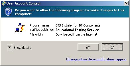 "A User Account Control message box is shown. There is a prompt asking ""Do you want to allow the following program to make changes to this computer? Information about the program name, verified publisher and file origin are provided. There are two buttons with the following labels. Yes and No."