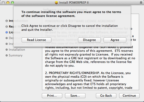 A pop up window is shown over the License Agreement window. The following information is provided. To continue installing the software you must agree to the terms of the software license agreement. Click agree to continue or click Disagree to cancel the installation and quit the Installer. Three buttons are shown with the following labels. Read License. Disagree and Agree.